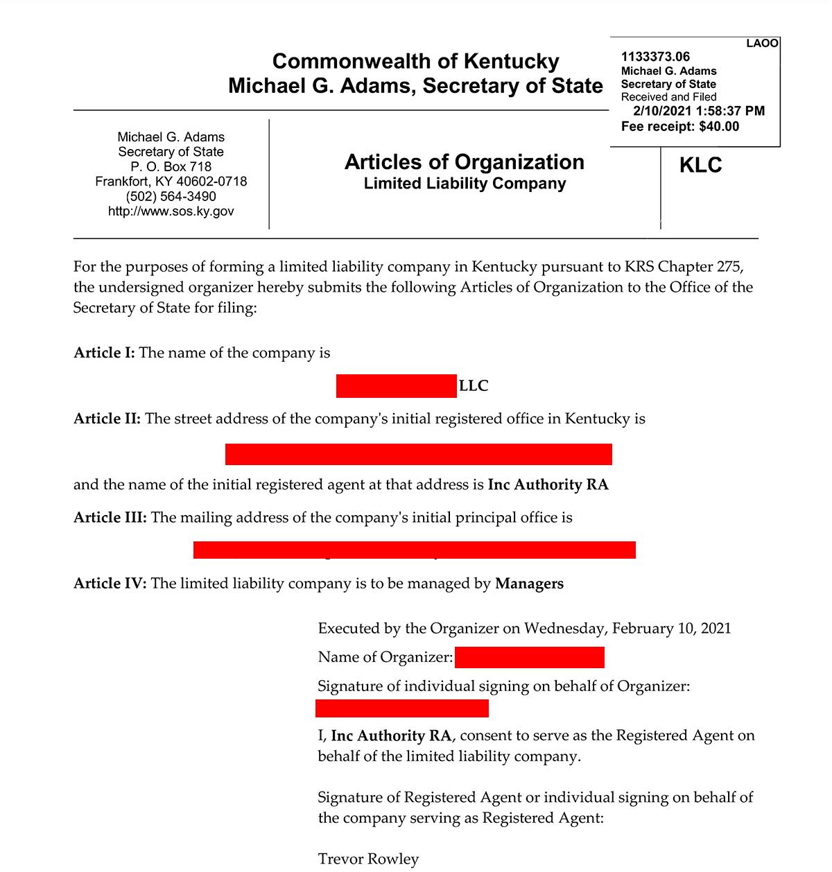 articles of organization Inc Authority ile Amerika'da Şirket Kurmak