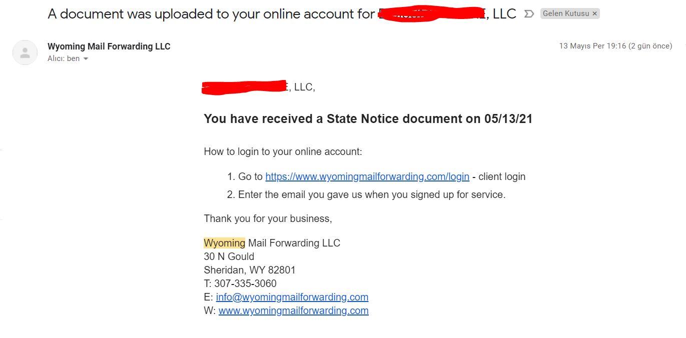 amerikada adres almak 9 15$'a Wyoming Posta Yönlendirme için Adres Almak