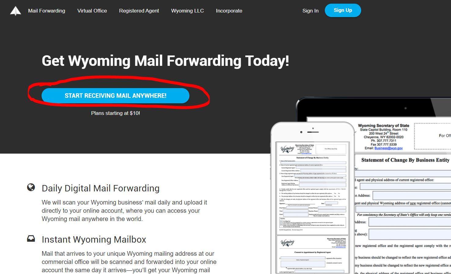 amerikada adres almak 15$'a Wyoming Posta Yönlendirme için Adres Almak