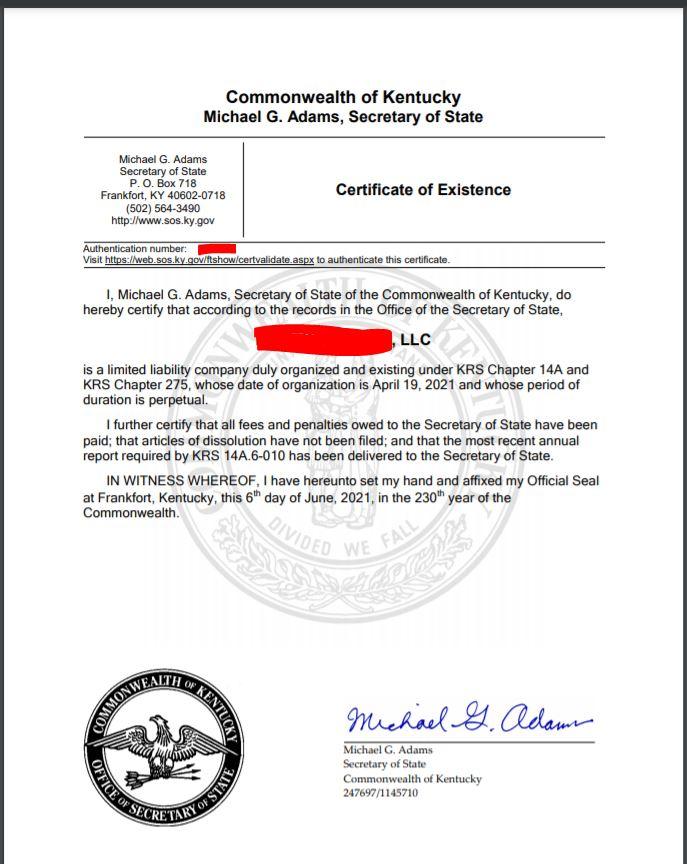 kentucky llc kurulum belgesi imzali llc Kentucky LLC için İyi İtibar Sertifikası Almak