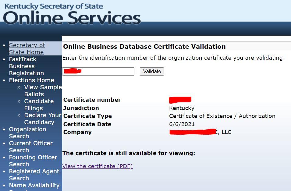 kentucky llc kurulum belgesi validate Kentucky LLC için İyi İtibar Sertifikası Almak