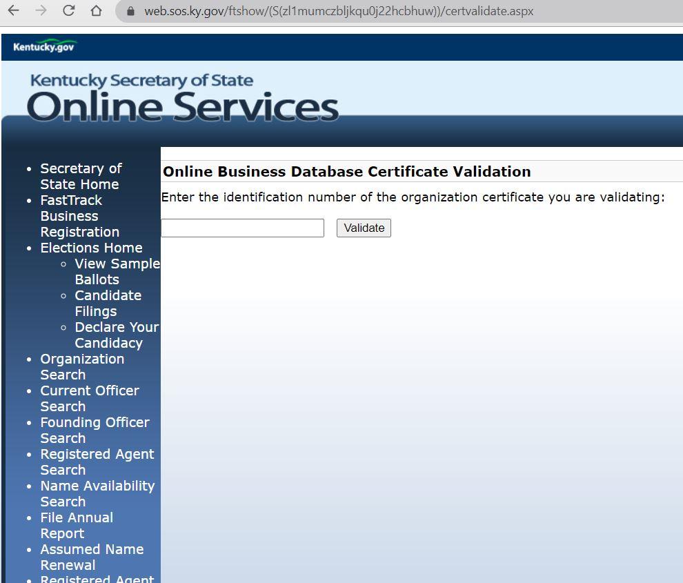 kentucky llc kurulum belgesi Kentucky LLC için İyi İtibar Sertifikası Almak