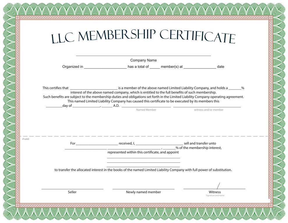 LLC member certificatemark LLC Şirketler için Örnek Formlar ve Şablonlar