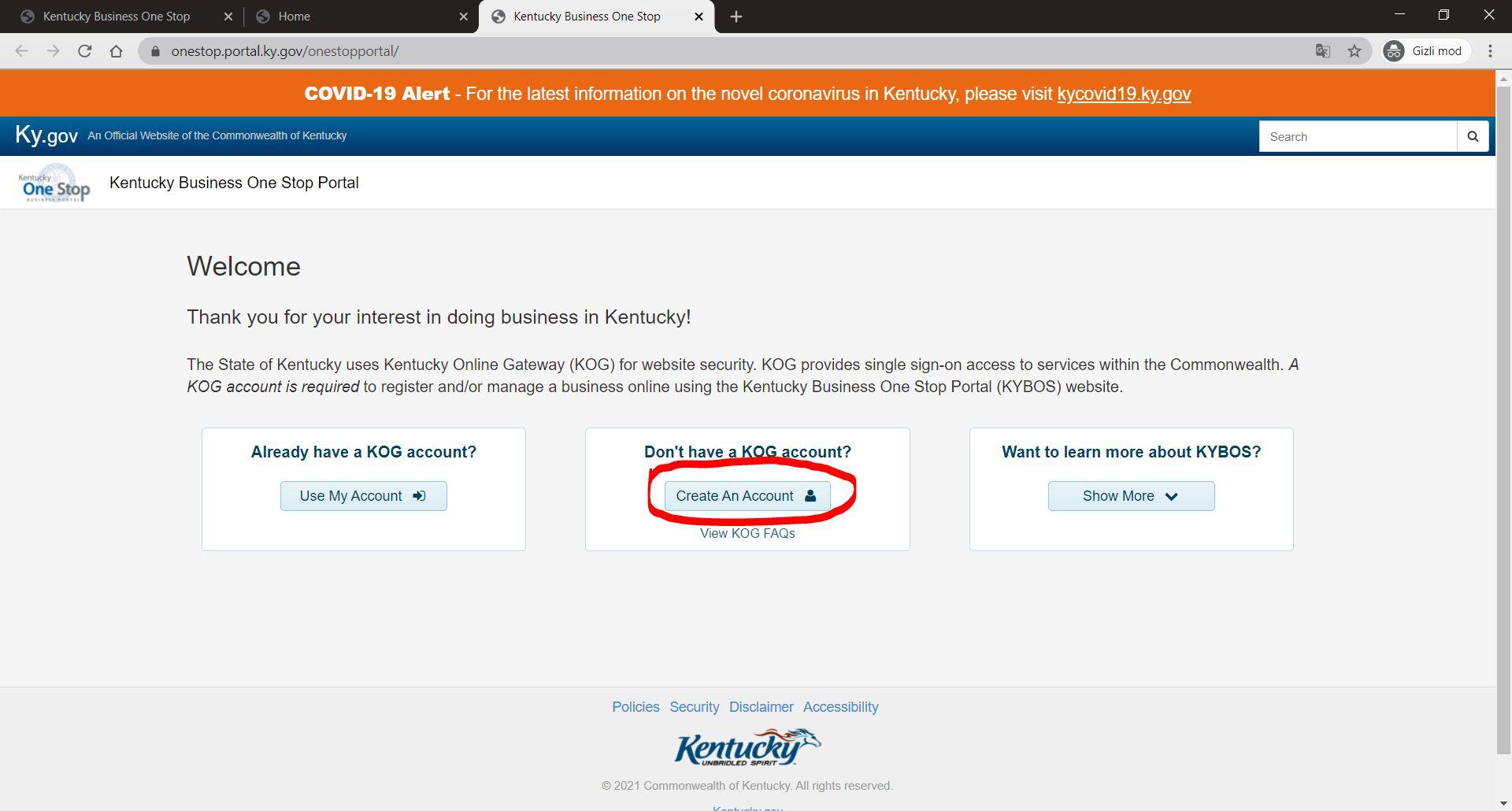kentucky onestop portal 2 Kentucky LLC'yi One Stop Portal'a Kaydedin