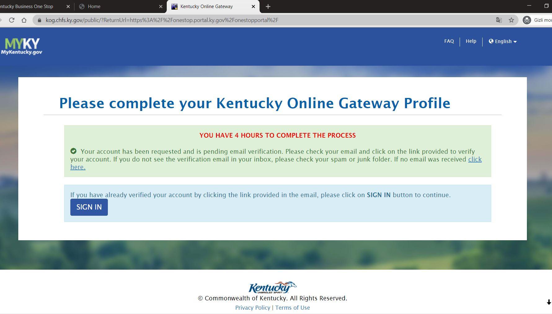 kentucky onestop portal 5 1 Kentucky LLC'yi One Stop Portal'a Kaydedin