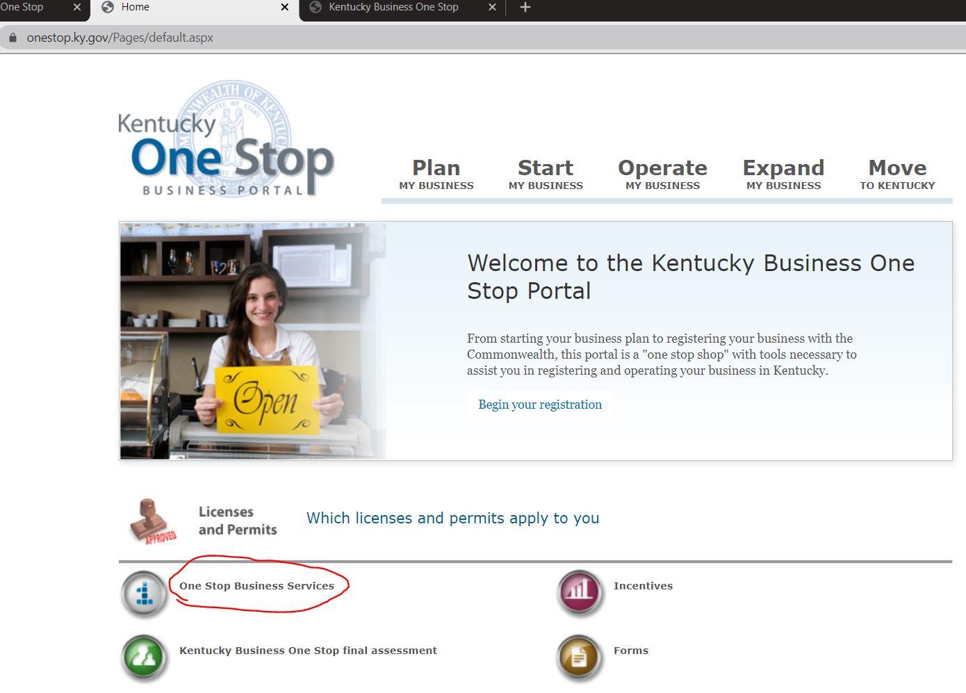 kentucky onestop portal Kentucky LLC'yi One Stop Portal'a Kaydedin