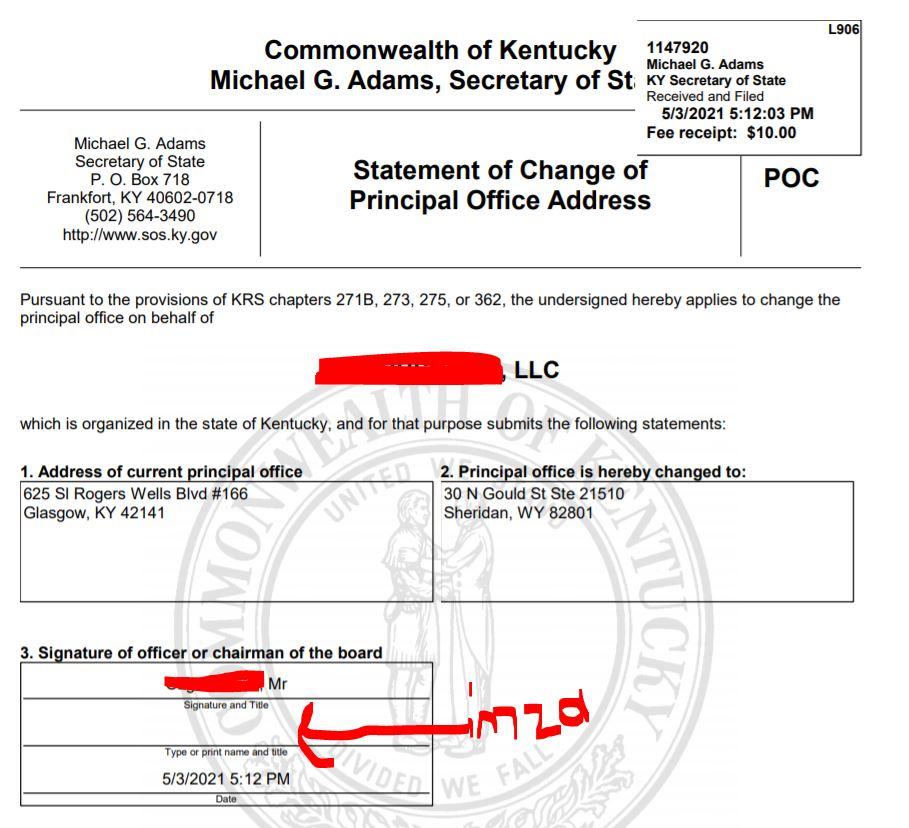kentucky llc adres degisikligi 6 7 Kentucky LLC İçin Adres Değiştirme Süreci